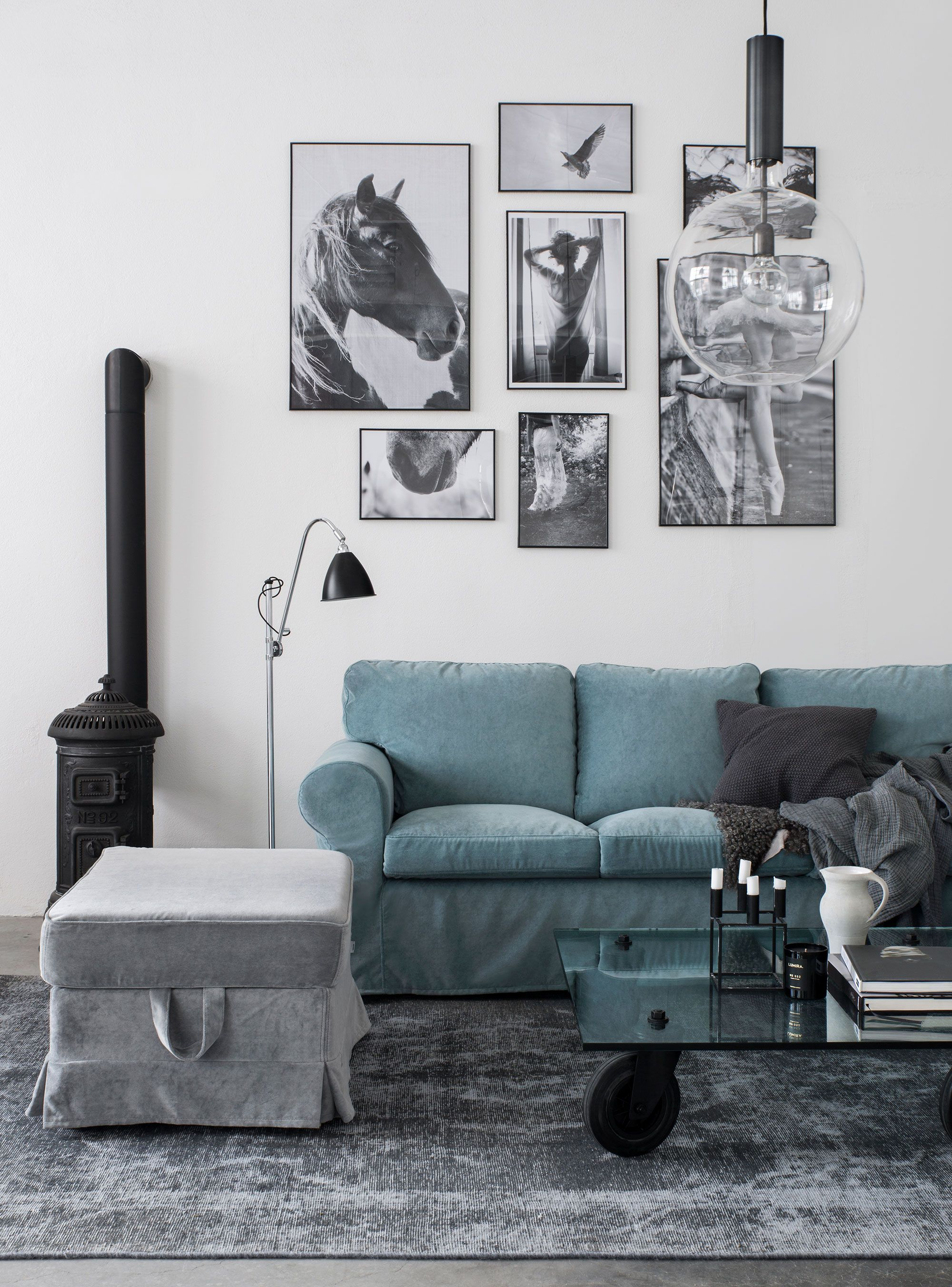 Scandinavian Inspired Living Room With Industrial Style Images Blue Velvet Sofa Ikea Ektorp Sofa With A Bemz Cover I Ikea Sofa Ektorp Sofa Ikea Ektorp Sofa