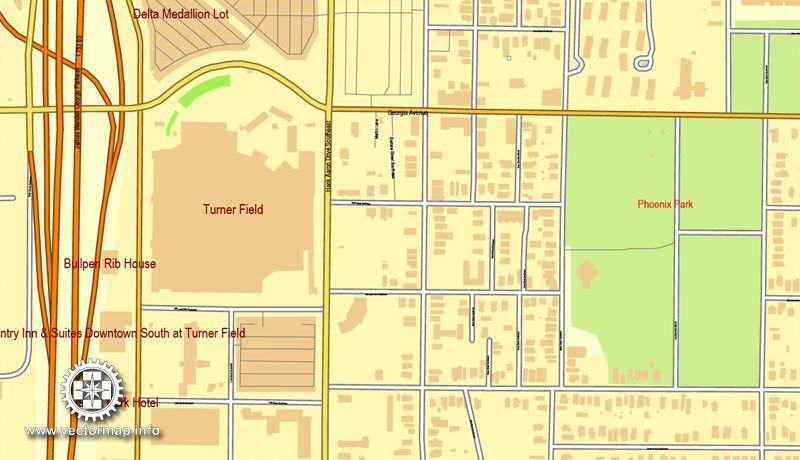 Atlanta Vector Map Georgia USA Vector Map Of Atlanta In Adobe - Map of georgia usa