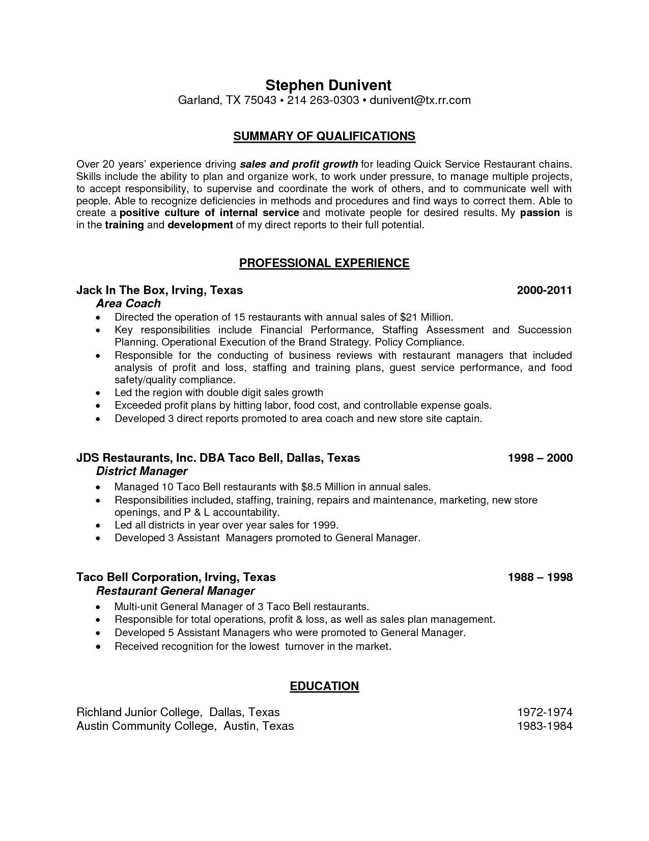 70 Beautiful Collection Of Resume Examples With Restaurant