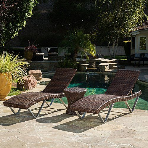 Home San Marco Outdoor 3piece Wicker Chaise Lounge Set