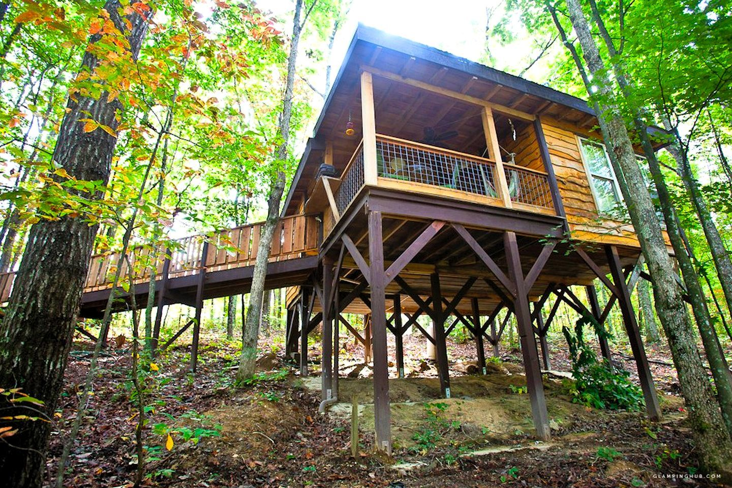 Cozy little tree house tucked away in the woods near