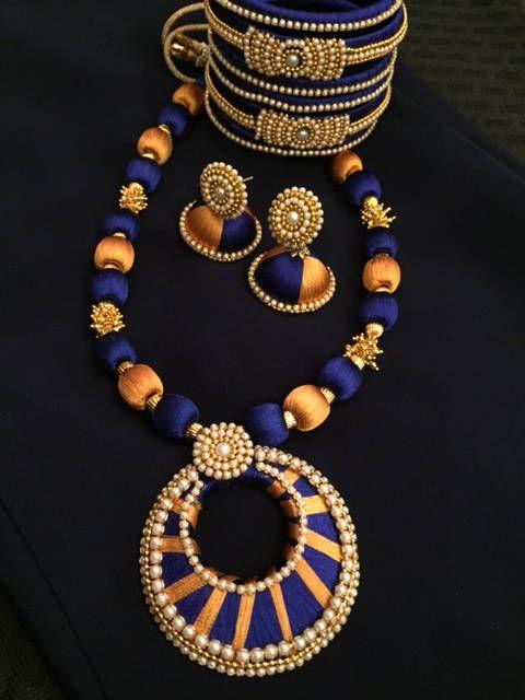 Indian Women Silk Thread Necklace Set  Gold Plated Artificial Jewelry Handmade  Wedding Wear