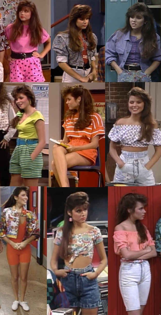 Kelly's girl-next-door high-waisted shorts/crop tops/shoulder baring.
