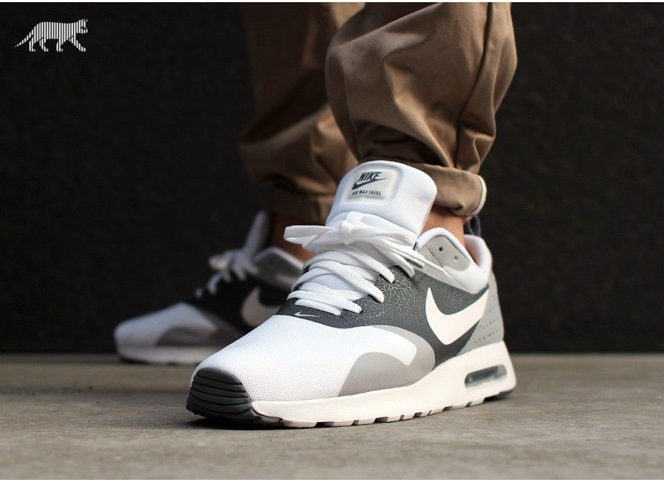 New Products US Men's Nike Air Max Tavas Running Shoes WhiteCool GreyWolf Grey On Clearance