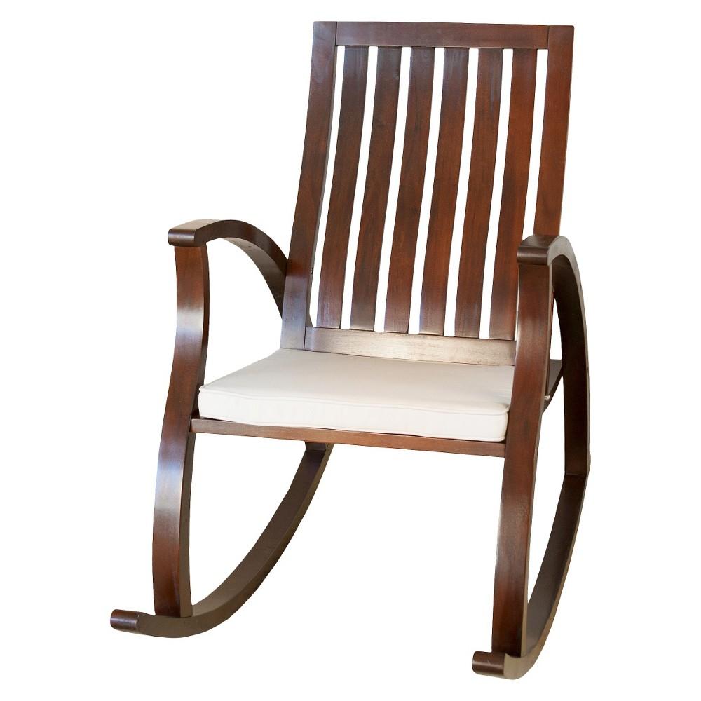 Abraham Brown Mahogany Wood Rocking Chair with Cushion