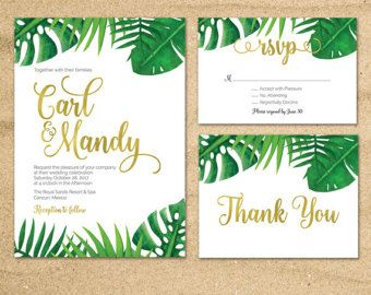 Tropical Wedding Invitation Tropical Palm Leaves Invite