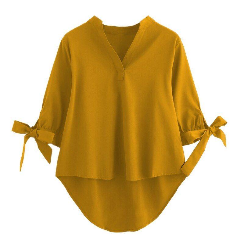 V Neck Chiffon Shirts 2018 Fashion Women Blouse Bl