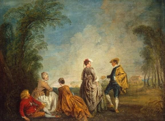 via maria isabel loyo @marisabeloyo   Antoine Watteau 'An Embarrasing Proposal'  1716