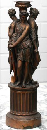 """Historismus 1871 - 1895. """"Lampenfuß, H. 62 cm"""" Zinkguß verkupfert, drei griechische Frauen auf ei"""
