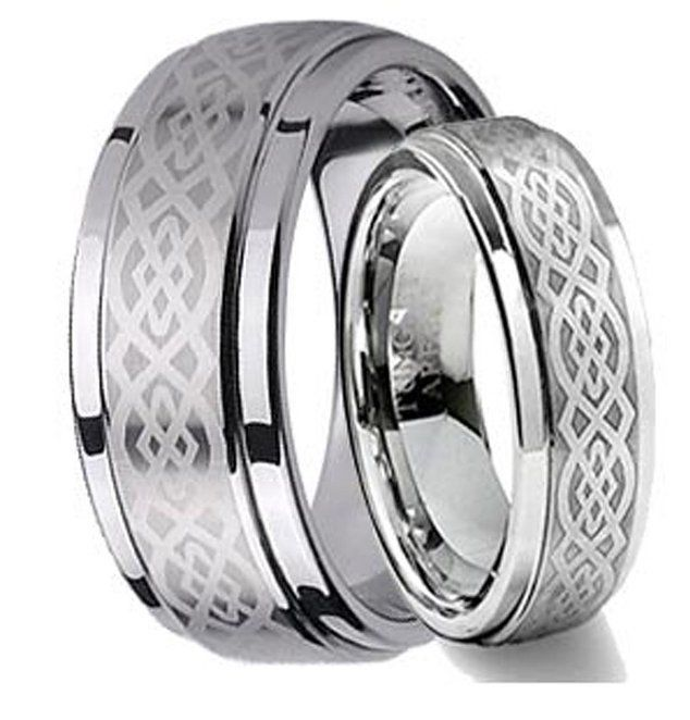 Tungsten Wedding Bands Celtic Knot Design Ring Wedding Band Men Women 8MM 6MM  #Handmade #Band