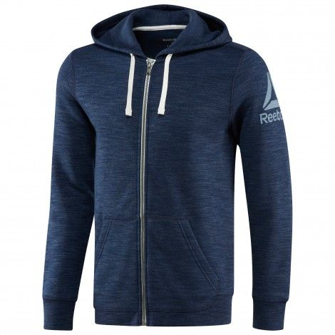 Fitness Hoodie Heren.Reebok Elements Full Zip Hoodie Fitness Vest Heren Collegiate Navy