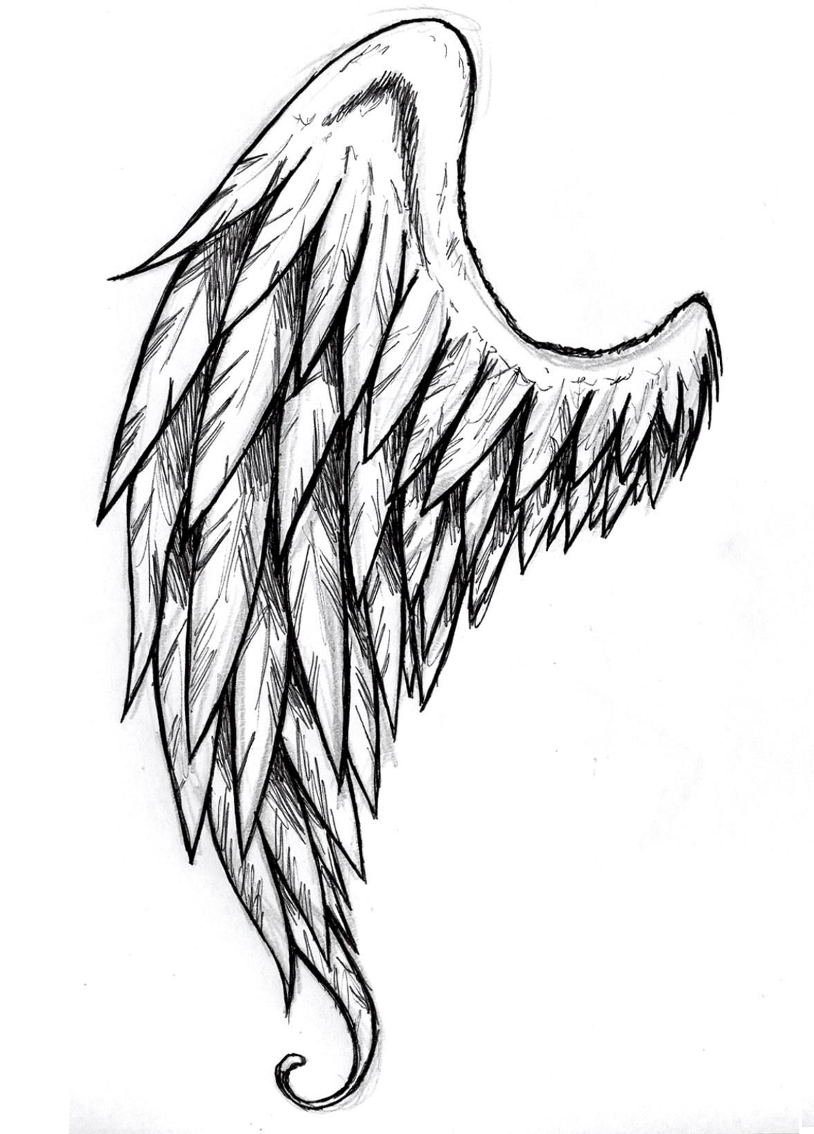 Крылья картинки карандашом