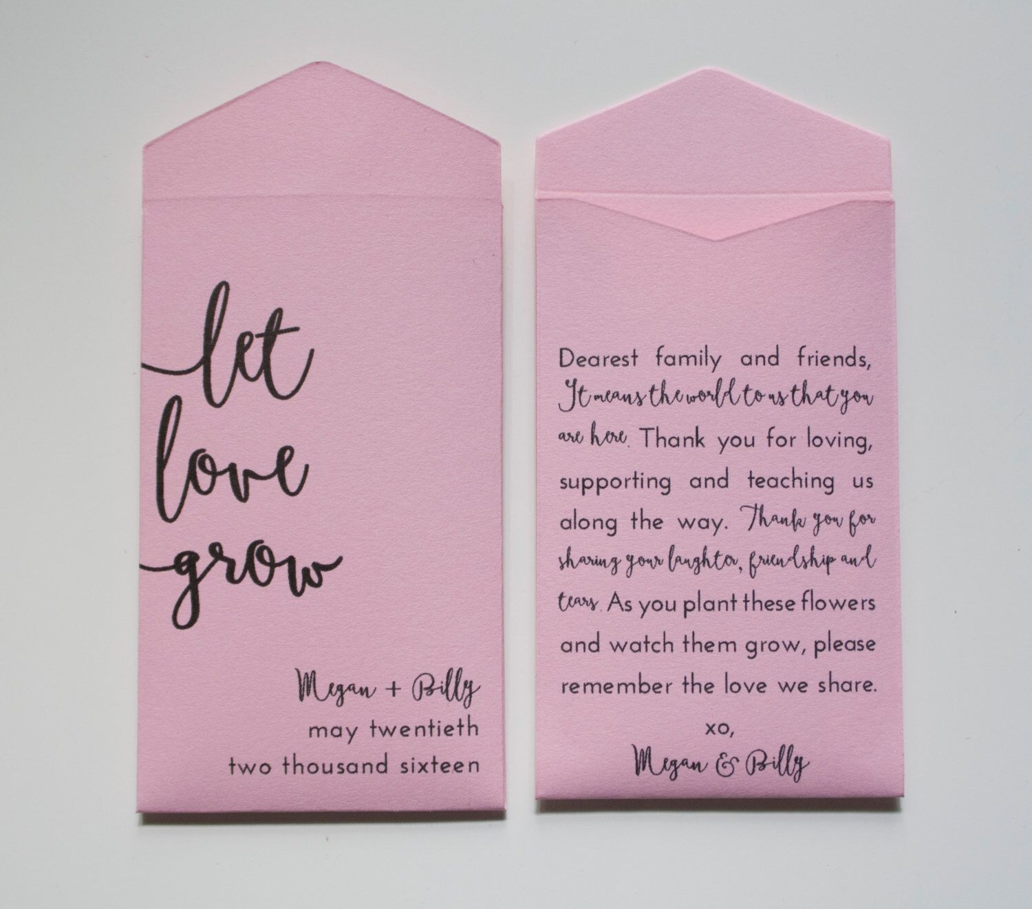 Let Love Grow Personalized Seed Packet Wedding Favors - Light Pink ...