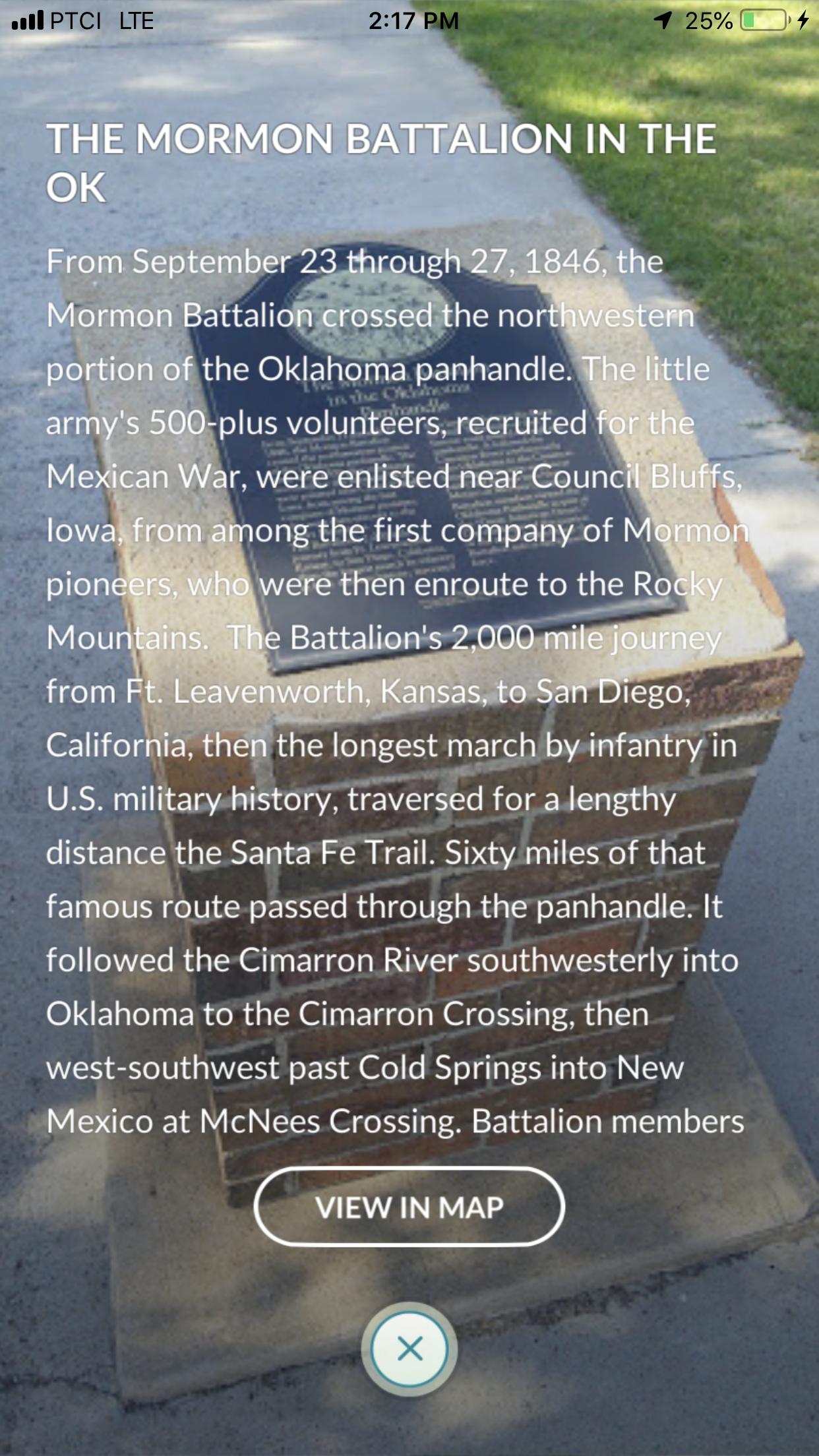 Oklahoma Mexican war, Mormon battalion, Pokestop