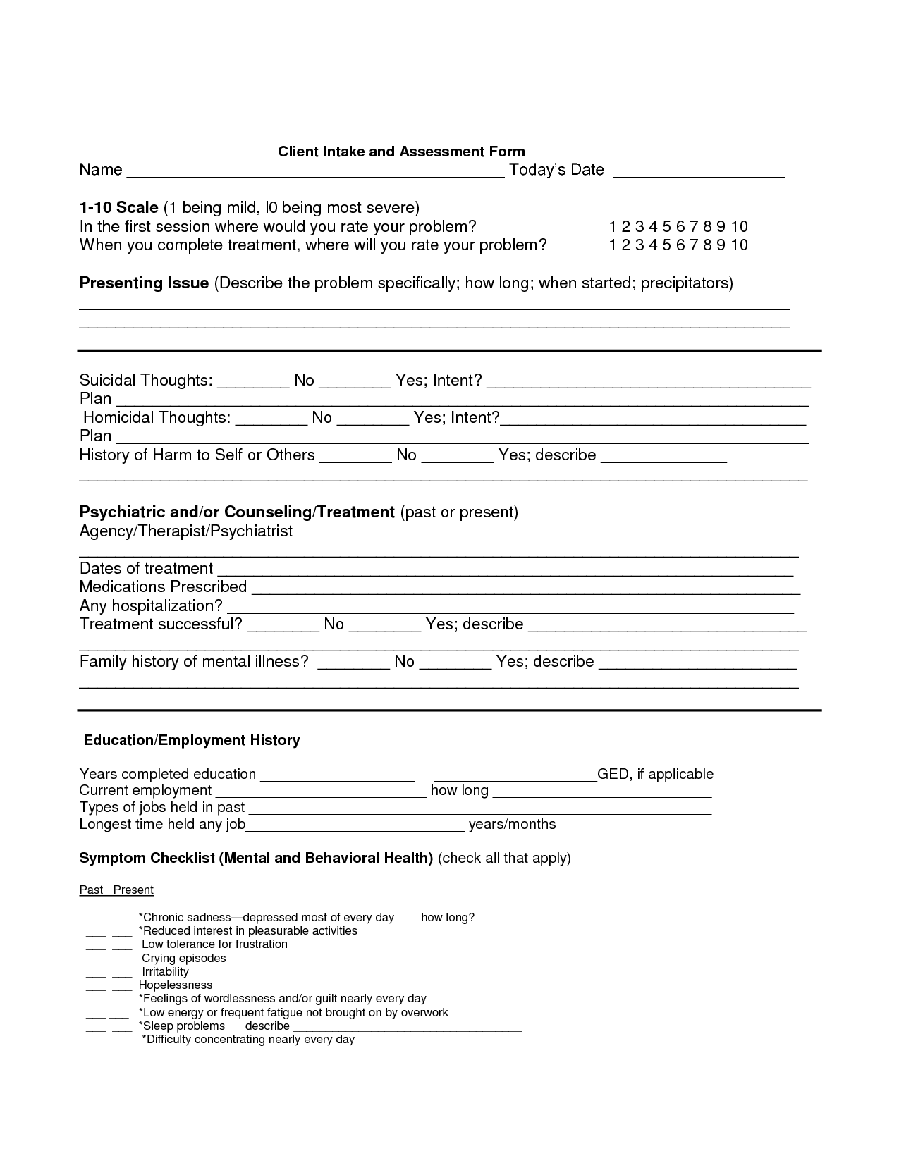 Counselling Assessment Forms