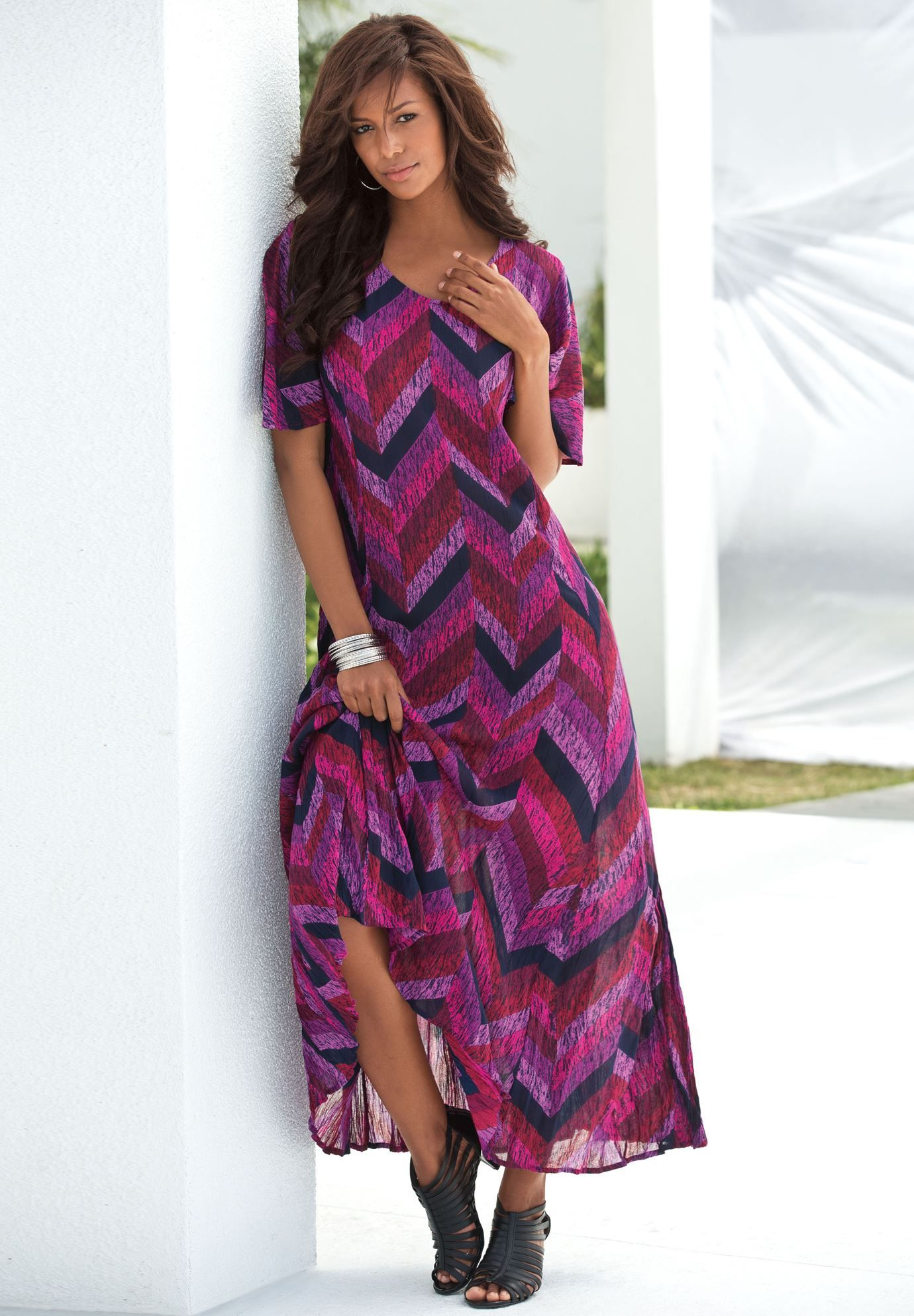 Plus size crinkle short sleeve maxi dress highbrow u lowbrow