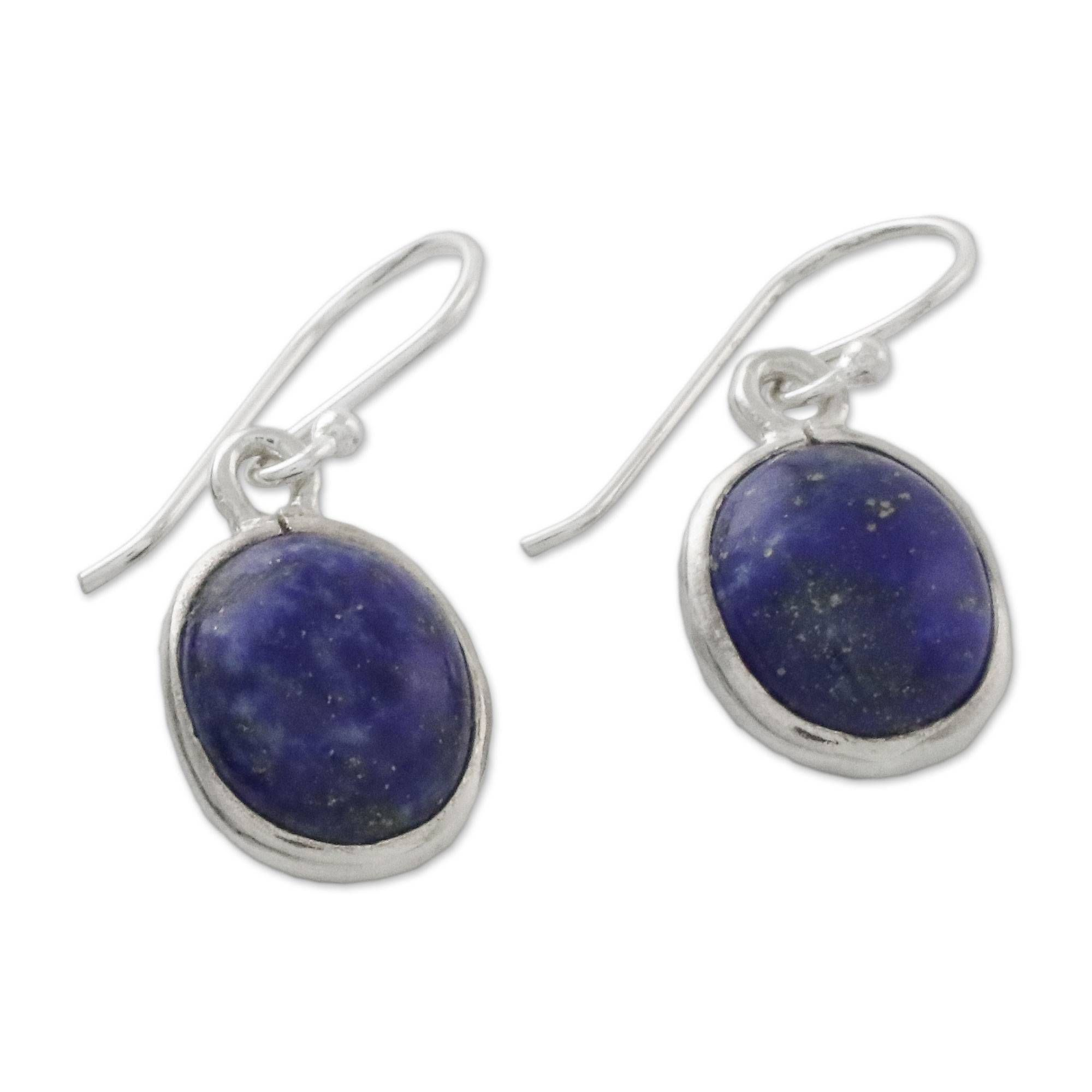 9ba43bf12 Thai Sterling Silver and Lapis Lazuli Earrings, 'Majestic Blue' in ...