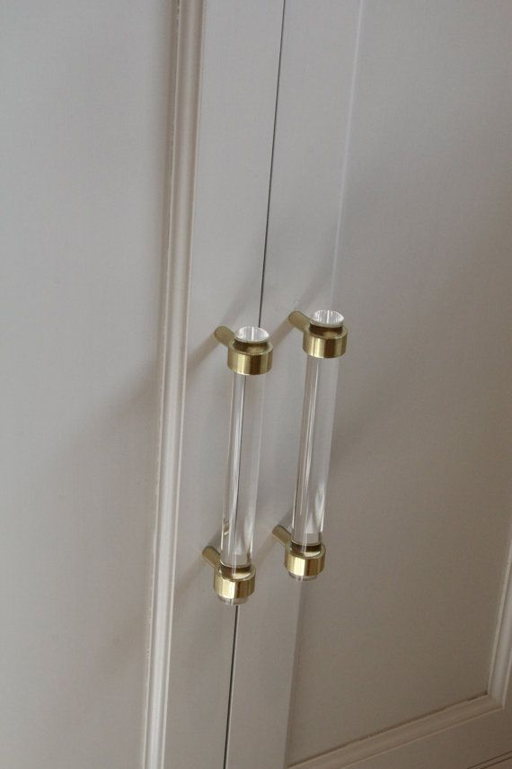 3/4 Dia. Polished Brass Drawer Pulls Lucite Cabinet by LuxHoldups ...