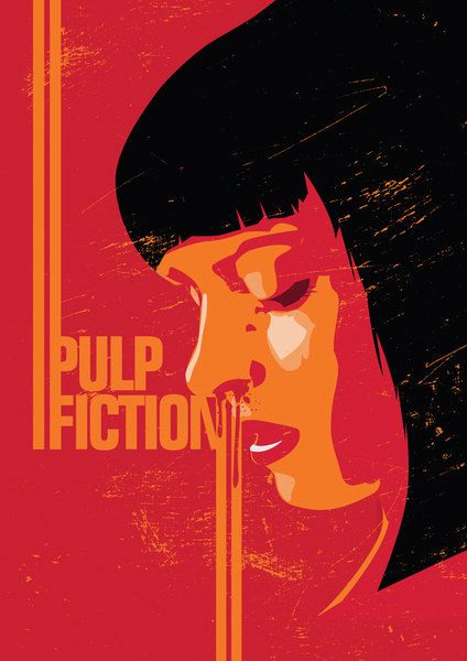 Pulp Fiction Minimalistic Pop Art Poster Print Retro By Lautstarke Pulp Fiction Movie Posters Minimalist Poster Art