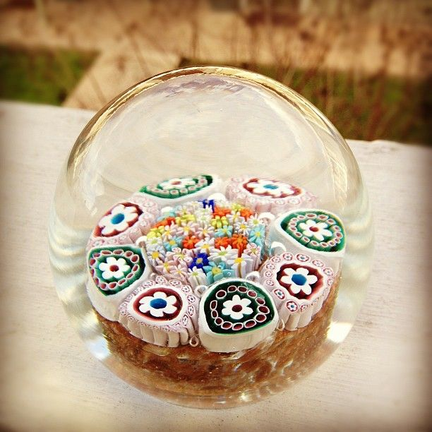 millefiori glass paperweight