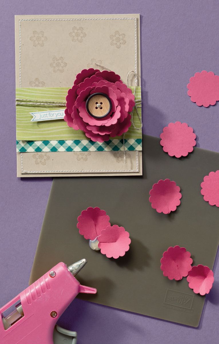Used Scalloped Circle Punch To Make Large Flower Cards
