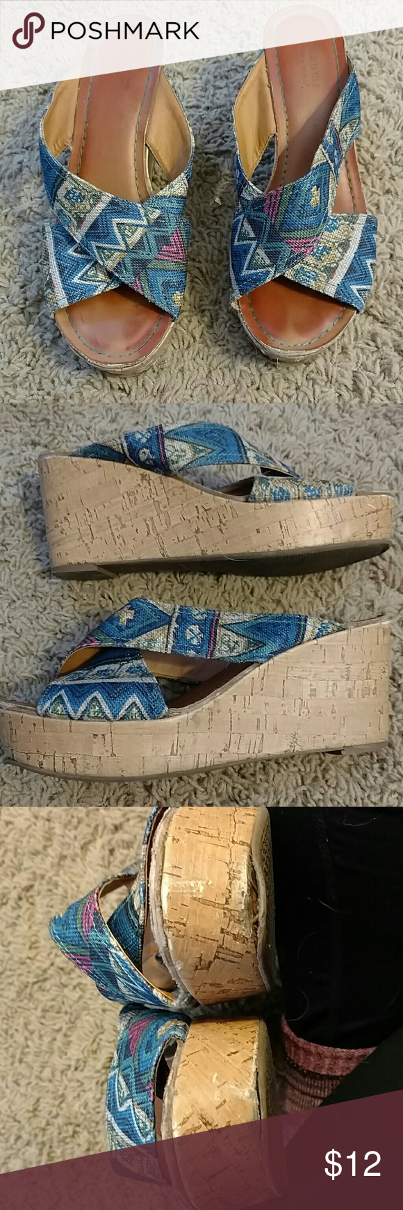 Cute multicolor wedges size 7.5 Well worn and loved, some damage to. Otherwise fronts and backs of the sandals... Definitely still wearable.  Criss cross top is a canvas like material. Sonoma Shoes Wedges