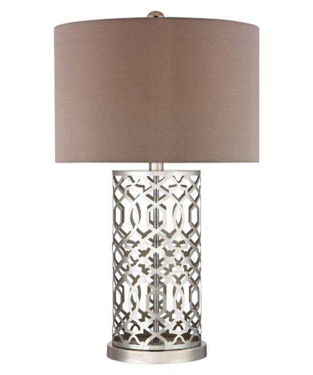 Hgtv home deluxe london laser cut pattern nickel table lamp www hayneedle com