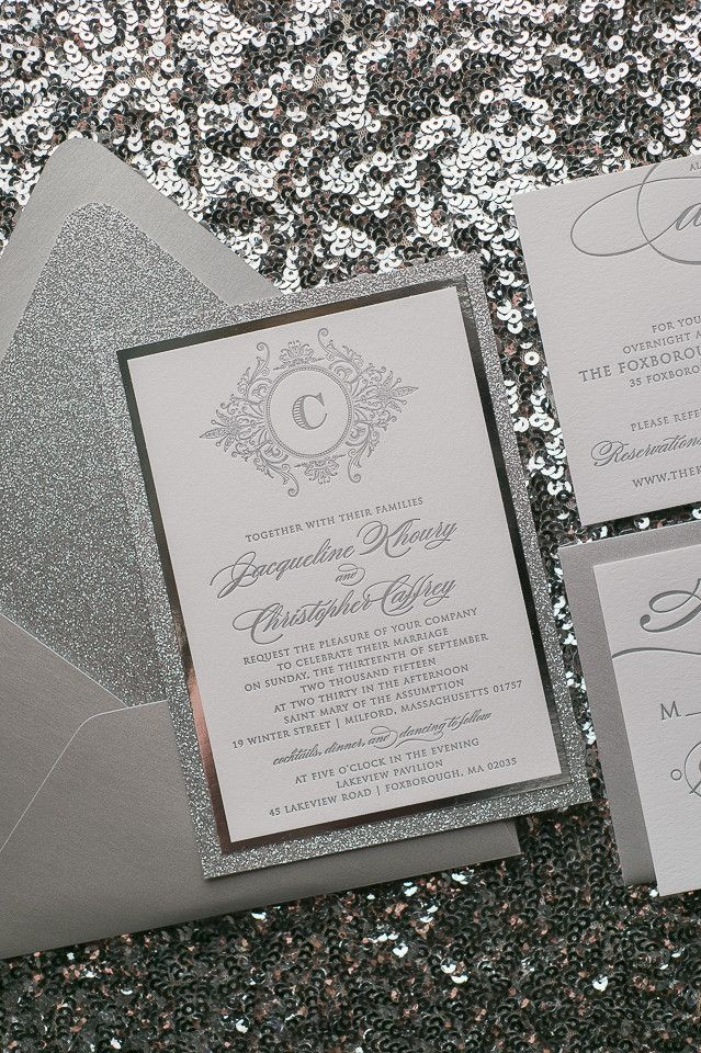 casual evening wedding invitation wording%0A ABIGAIL Suite    STYLED    Fancy Glitter Package  Monogram Wedding  InvitationsWedding