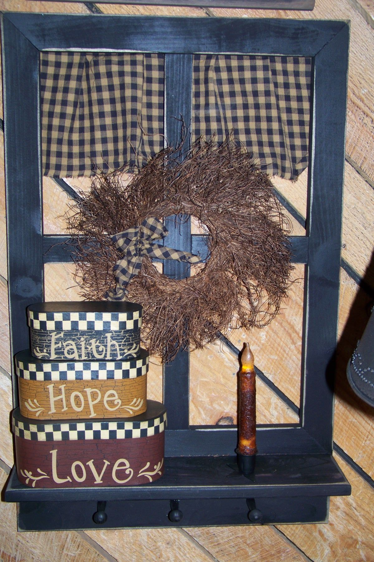 Home decor window  primitive window shelf amish made then decorated with country home
