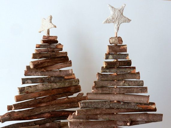 woodland home decor etsy.htm rustic christmas trees set of 2 table top trees made  rustic christmas trees set of 2 table top trees made