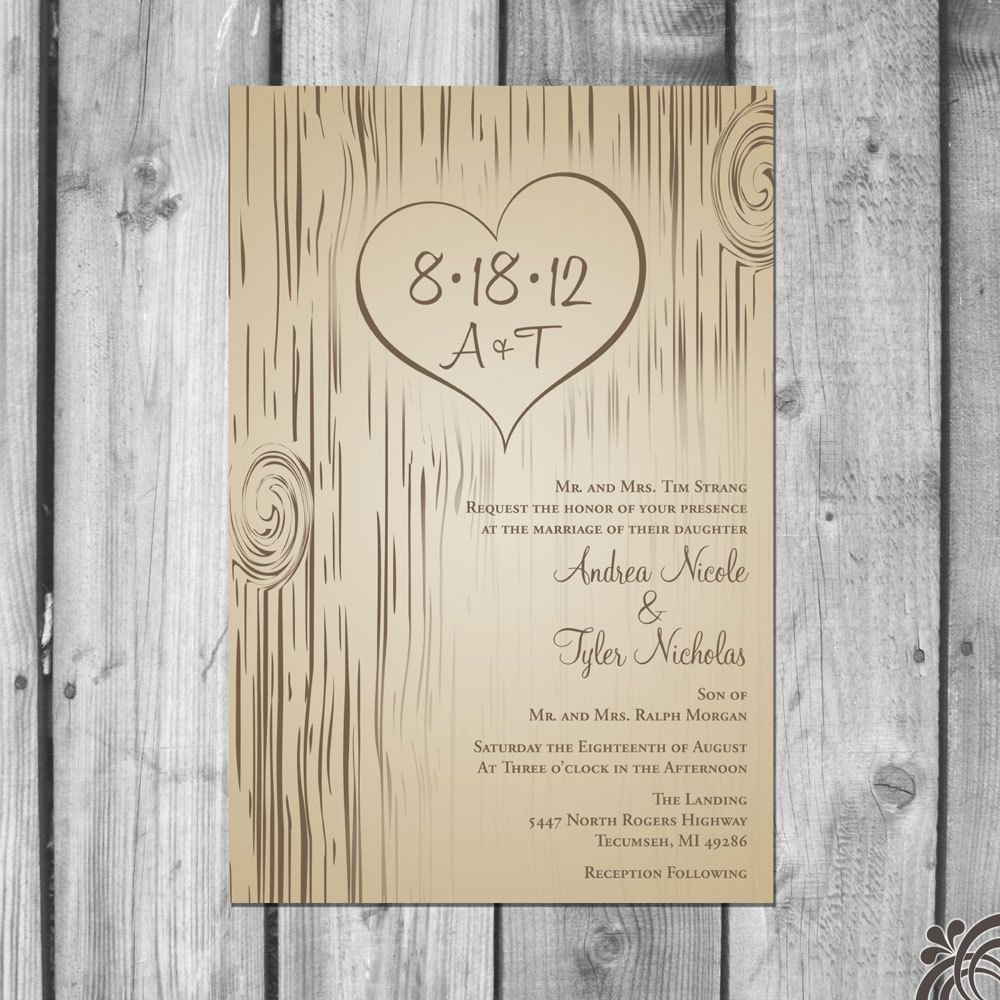 Carved Tree Wedding Invitation Set by ChristinaElizabethD on Etsy ...