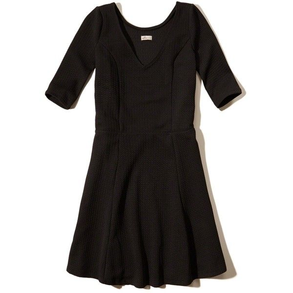 Hollister Bubble Knit Skater Dress (113030 PYG) ❤ liked on Polyvore featuring dresses, black, v neck knit dress, v neck skater dress, textured dress, knit skater dress and skater dress
