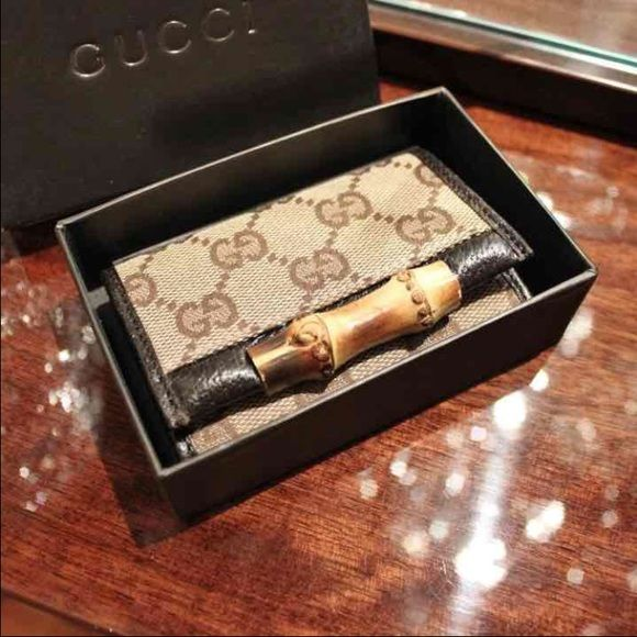 gucci keychain wallet. authentic gucci keychain wallet beige w/ brown gg\u0027s ~ boar leather bamboo accent 6