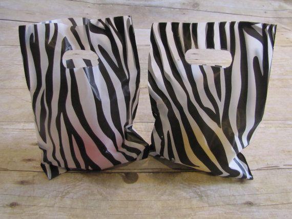 24 Zebra Party Favor Bags Print Gift Plastic Bag