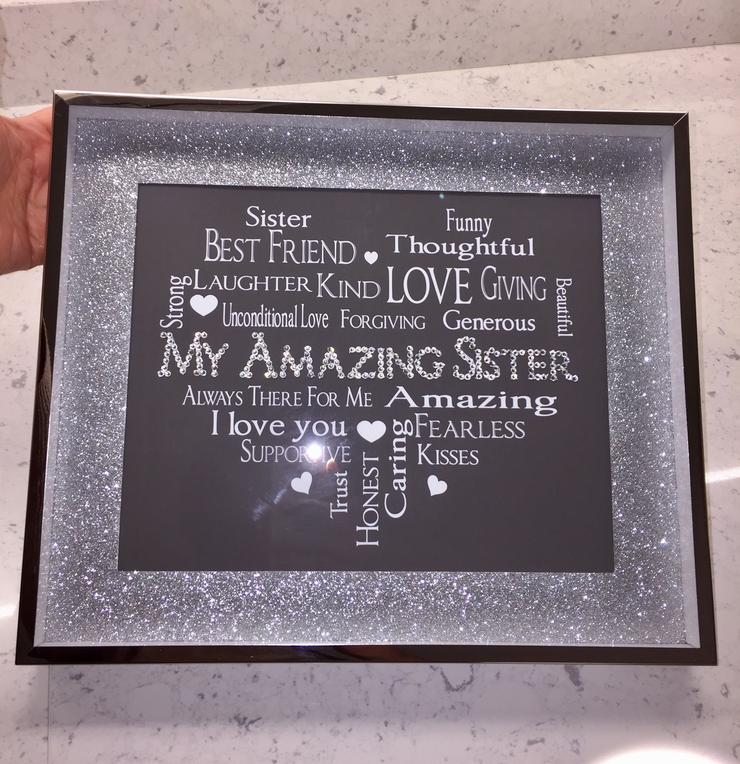 3d box frame with sister word heart glittery mount and swarovski