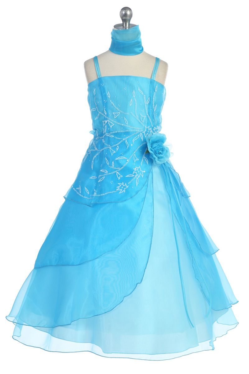 Click to enlarge turquoise embroidered organza aline flower girl