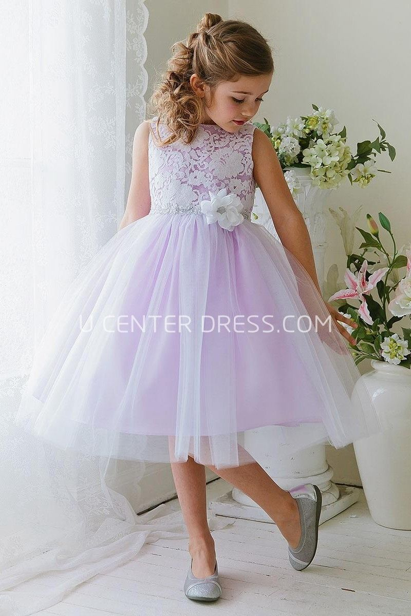 2a99edb0f4  76.31-Cute Floral Tea-Length Tiered Tulle  amp  Lace Purple Long Junior  Bridesmaid