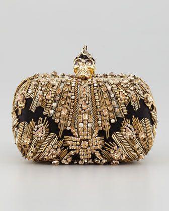 Alexander McQueen Crystal-Embroidered Punk Skull Clutch Bag, Gold - Neiman Marcus