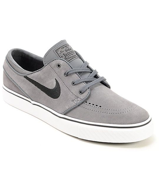 reputable site 55ba9 191a0 Nike SB Zoom Stefan Janoski Grey   Black Suede Shoes
