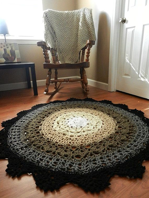 Ombre Lace Crochet Doily Rug French Country Decor Shabby