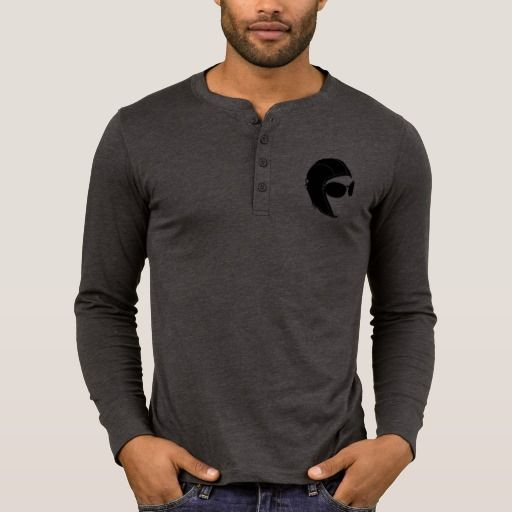 Aviator Four-Button Placket Long Sleeve Shirt by JPAERO. Logo printed on left chest Click to buy https://www.zazzle.co.uk/the_aviator_dark_grey_long_sleeve_shirt_by_jpaero-235148142275065000  #longsleeveshirt #man #aviator #topgunstyle #casual #forhim #fashion