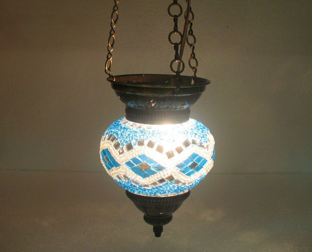 Moroccan lantern mosaic hanging lamp glass chandelier light lampen