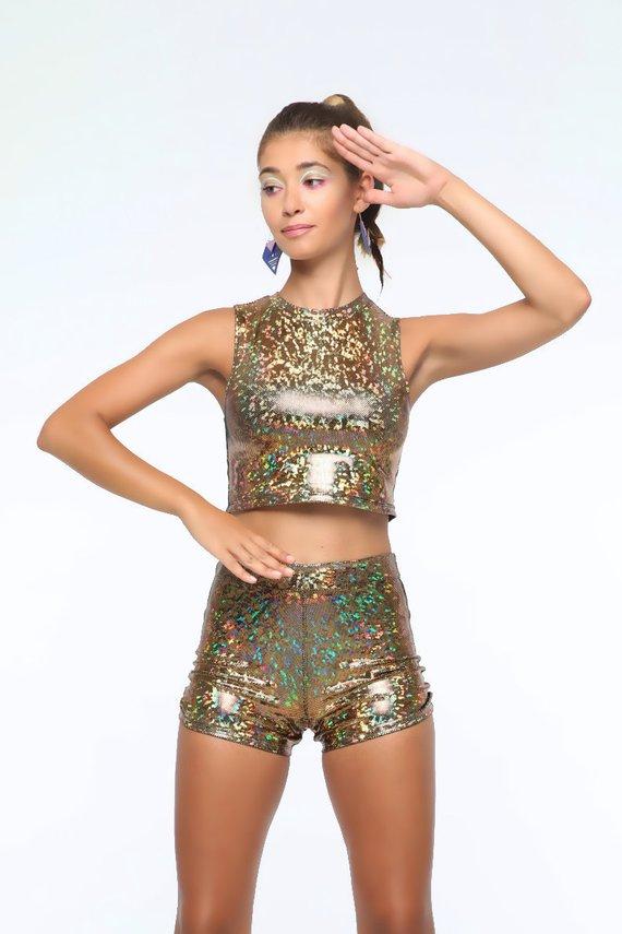 ee26994896571 Holographic Roller Girl Crop Top