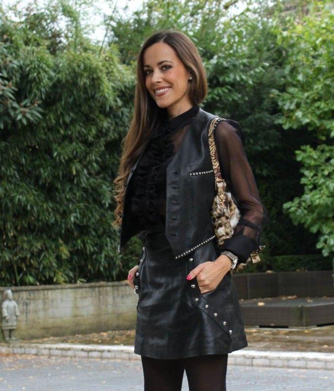 Sandra Bauknecht in Leo Biker Vest and studded leather skirt by ...