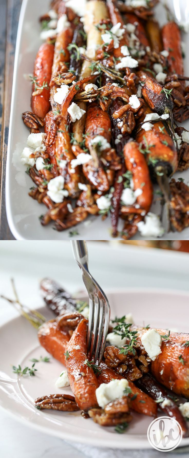 Roasted Carrots with Candied Pecans and Goat Cheese #thanksgivingrecipessidedishes