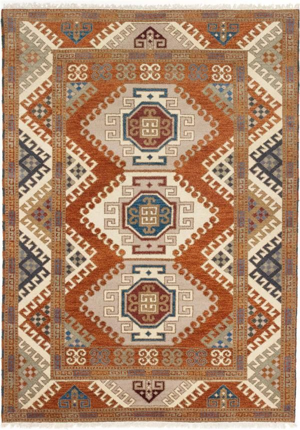 Hand Knotted Royal Kazak Copper Wool Rug