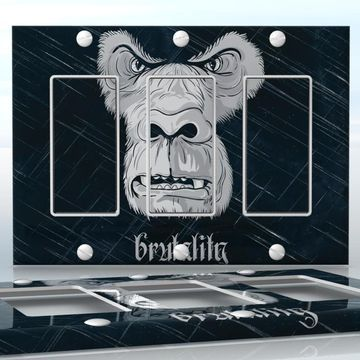 DIY Do It Yourself Home Decor - Easy to apply wall plate wraps | Brutality Mad gorilla face wallplate skin sticker for 3 Gang Decora LightSwitch | On SALE now only $5.95