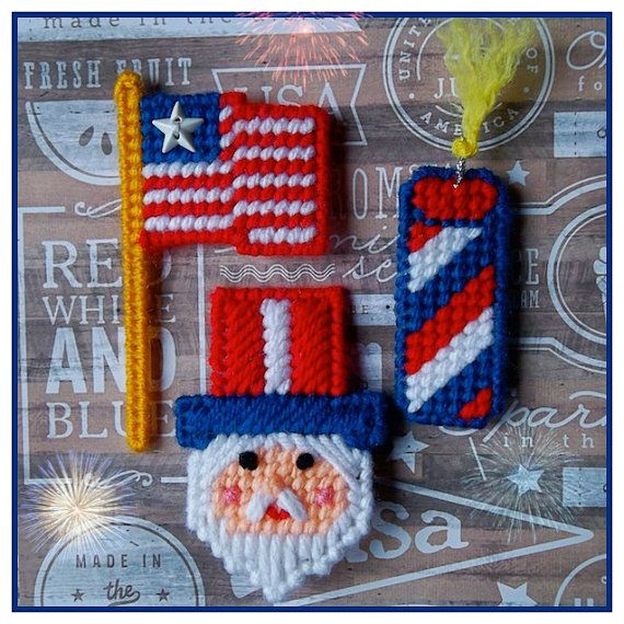 4th of July Themed Magnets (set of 3 American flags, 3 fireworks and 3 Uncle Sam magnets)