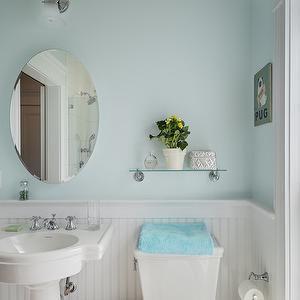 Crisp Architects Bathrooms Cottage Bathroom White And Blue Bathroom Blue Walls Blue Bathroo Glass Bathroom Shelves Bathroom Shelf Decor Cottage Bathroom