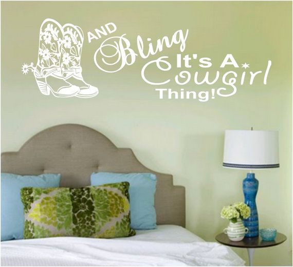 Boots Bling Cowgirl Wall Art Wall Decal by VinylDecorBoutique $13.00 & Boots Bling Cowgirl Wall Art Wall Decal Vinyl Decal Vinyl Wall ...
